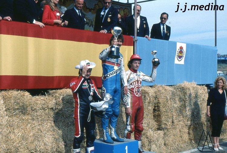 Stefan Dorflinger, Eugenio Lazzarini y Claudio Lusuardi, podium de 50 cc