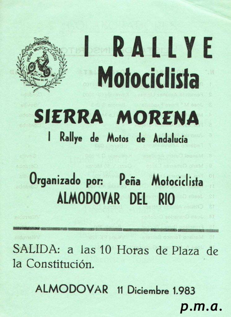 Anuncio  I Rallye Motocislista Sierra Morena
