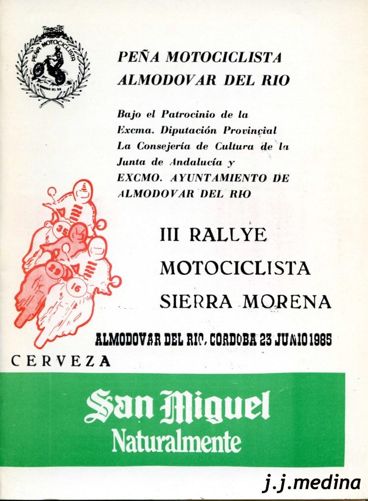 POrtada programa III Rallye Rierra Morena Motos