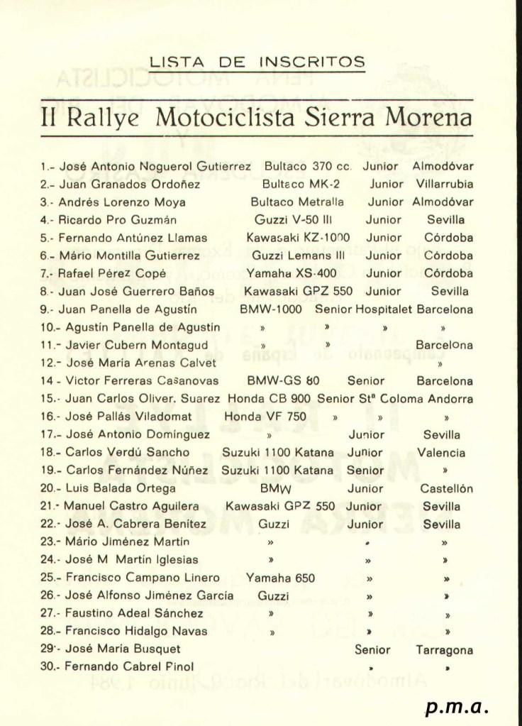 Lista de Inscritos II Rallye Sierra Morena Motosa