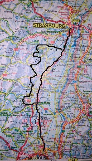 Mapa ruta por Alsacia