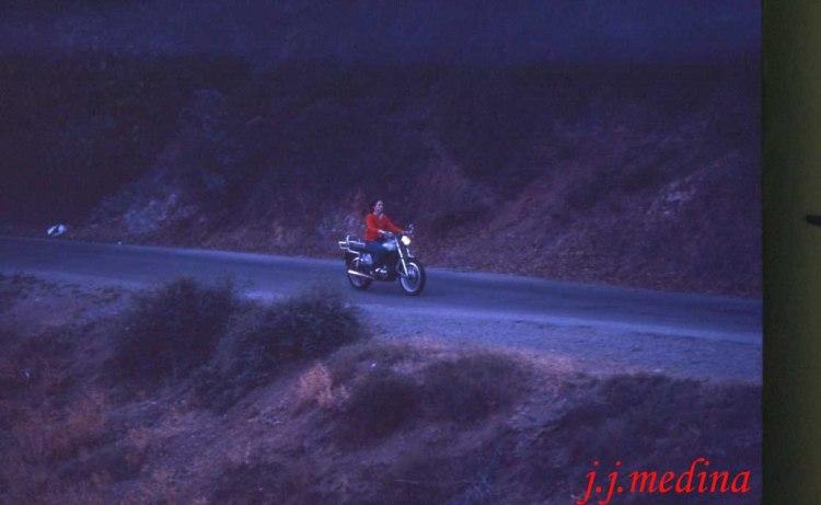 Teresa en la Ducati Road, años 80