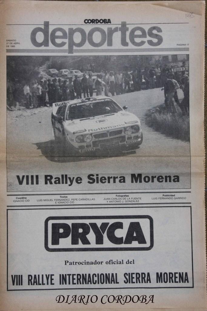 Portada Especial Rallye Sierra Morena 85, Diario Córdoba