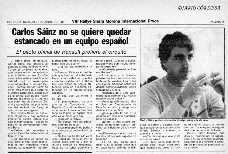 Entrevista Carlos Sainz, especial DC Rallye Sierra Morena