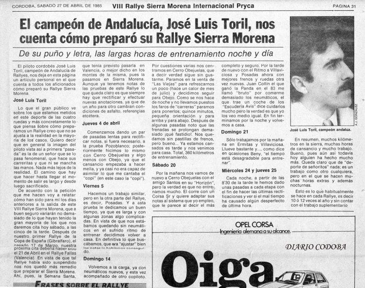 Artículo José Luis Toril, Especial DC Rallye Sierra morena 85