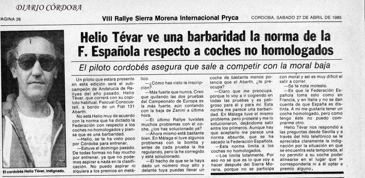 Entrevista a Helio Tévar, Especial DC Sierra Morena 85