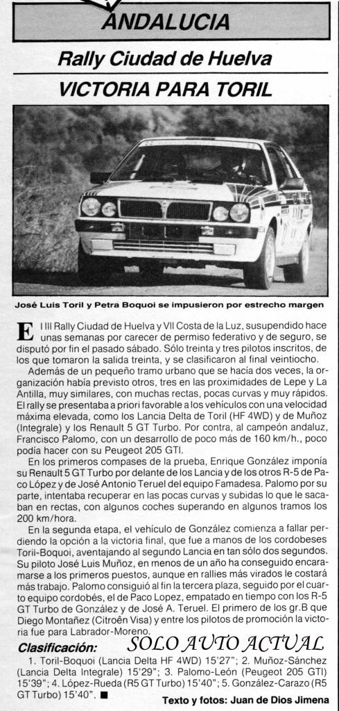 Solo Auto Actual nº 30, Rallye de Huelva