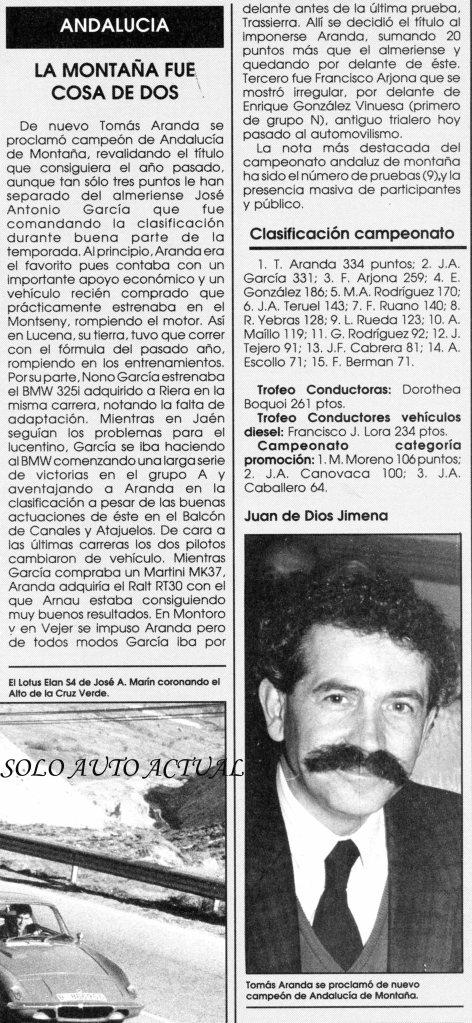 Solo Auto Actual nº 48, Resumen Montaña Andaluza 88